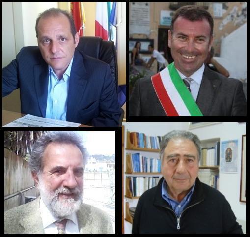 i sindaci eoliani: Giorgianni, Lo Schiavo, Gullo e Longhitano