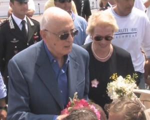 il presidente Napolitano e la signora Clio a Stromboli