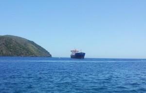 la nave Calajunco questa mattina a Lipari