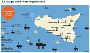 la cartina delle trivellazioni pubblicata da Repubblica Palermo