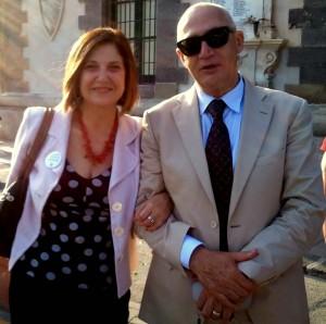 Alessandra Siragusa a Lipari con Saverio Merlino in occasione di un convegno