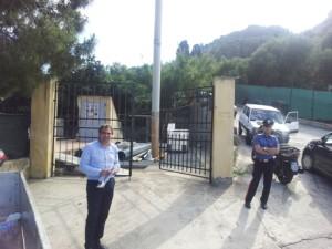 l'assessore Orto il 10 maggio del 2013 nell'impianto sequestrato