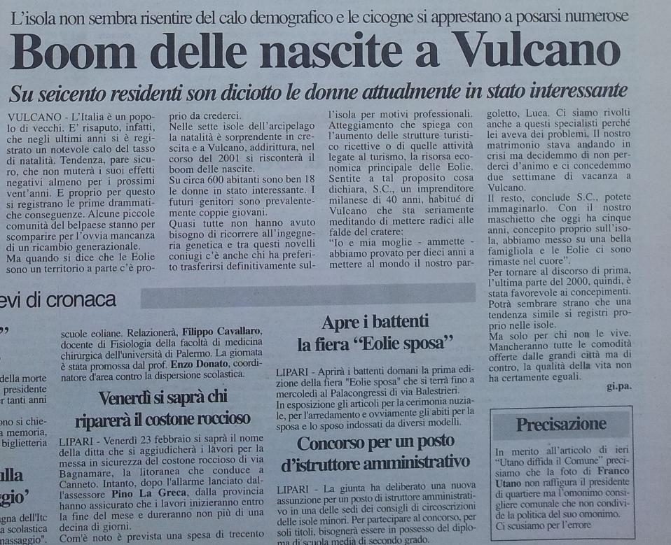 boom nascite Vulcano