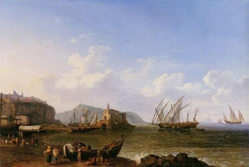 Marina Corta di Lipari, dipinta da Jakob Hackert...(al centro la penisoletta e la chiesa delle Anime del Purgatorio) XVIII secolo