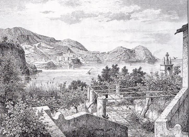 La casa dove abitava Luigi Salvatore sul promontorio di Donna Ina nell'isola di Lipari, incisioni dell'artista praghese Friedrich Hawranek