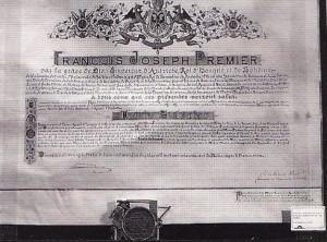 Nomina a Cavalier del Toson d'Oro conferita dall'imperatore d'Austria a Luigi Salvatore nel 1867