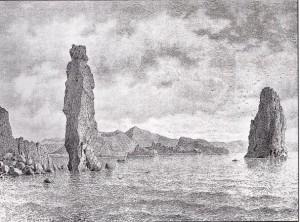 I faraglioni tra Lipari e Vulcano tratte dai disegni di Luigi Salvatore Asburgo Lorena incisioni di Friedrich Hawranek