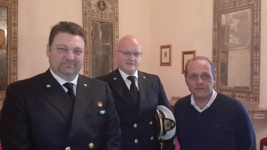 I comandanti del porto di Milazzo e Lipari, Rottino e Margadonna e il sindaco di Lipari Giorgianni