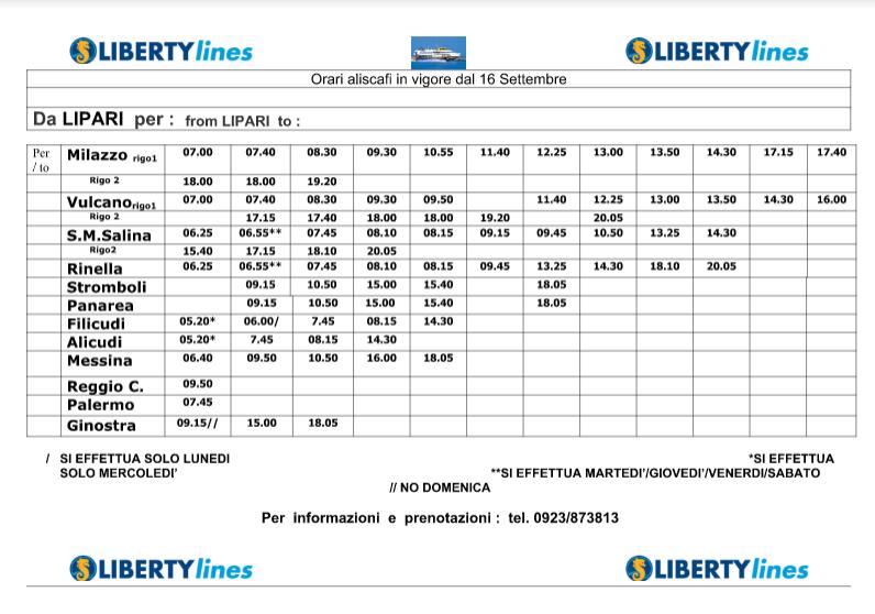 orari LIBERTY 16 1