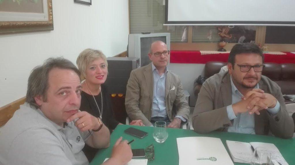 da sin. Banny Bonaffini, Dominga Monte, Daniele Andronaco e Alberto Palella nel recente confronto con i candidati a Sindaco di Lipari