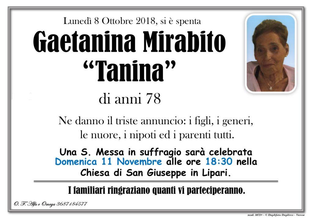 Messa in suffragio con solo foto (Mirabito Gaetanina)
