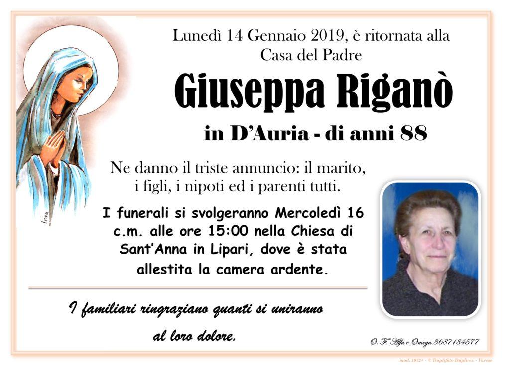Riganò Giuseppa in D'auria manifesto
