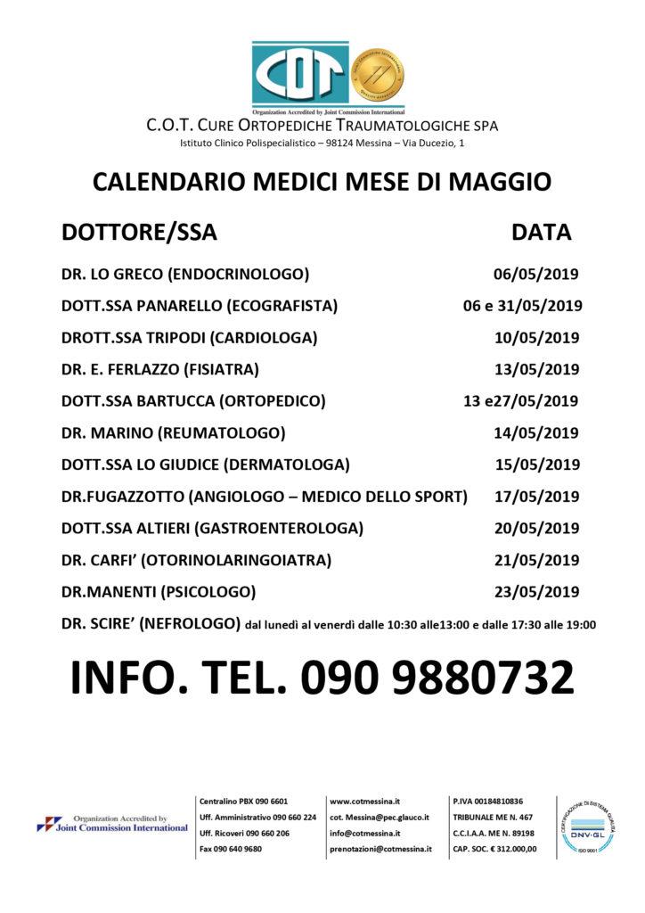 CALENDARIO MEDICI MAGGIO