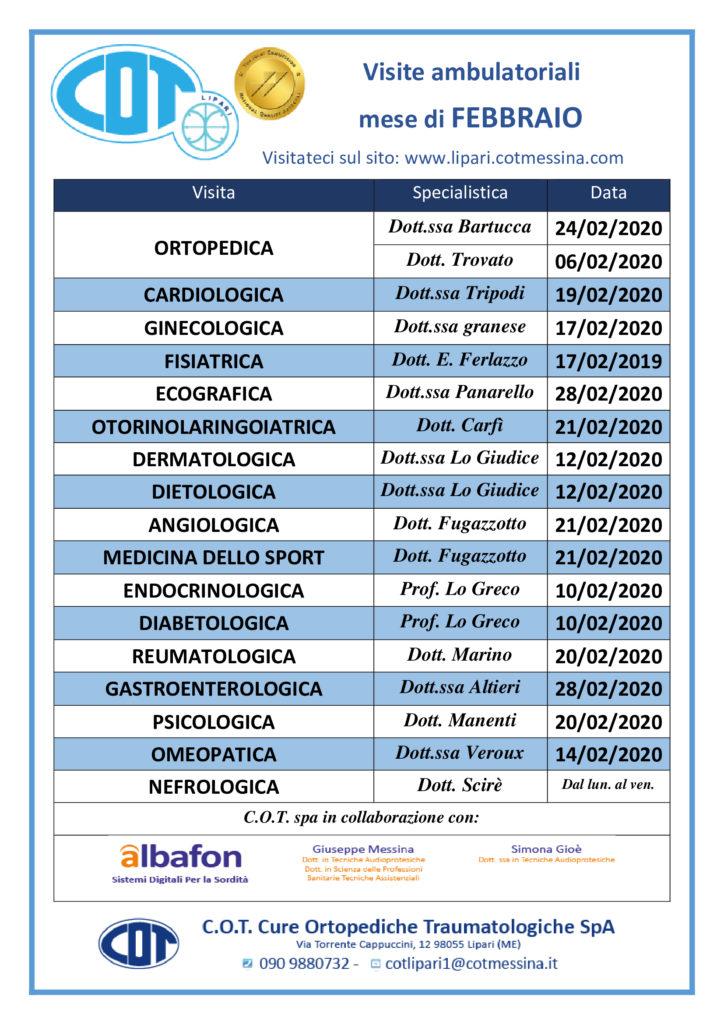 COT Lipari : visite ambulatoriali di gennaio 6