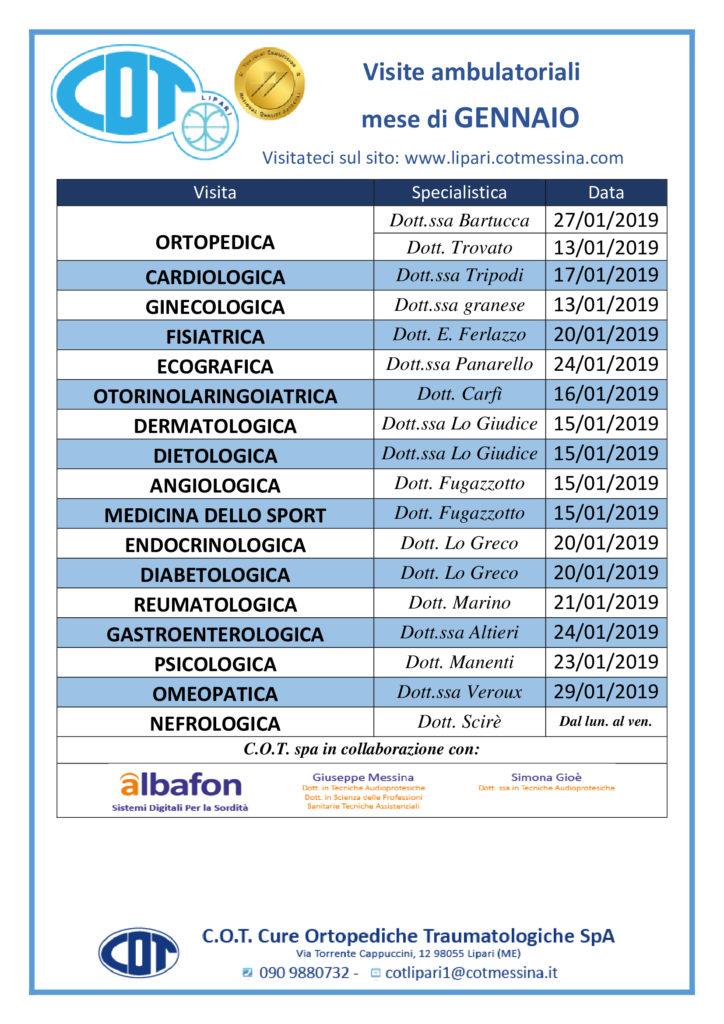 COT Lipari : visite ambulatoriali di gennaio
