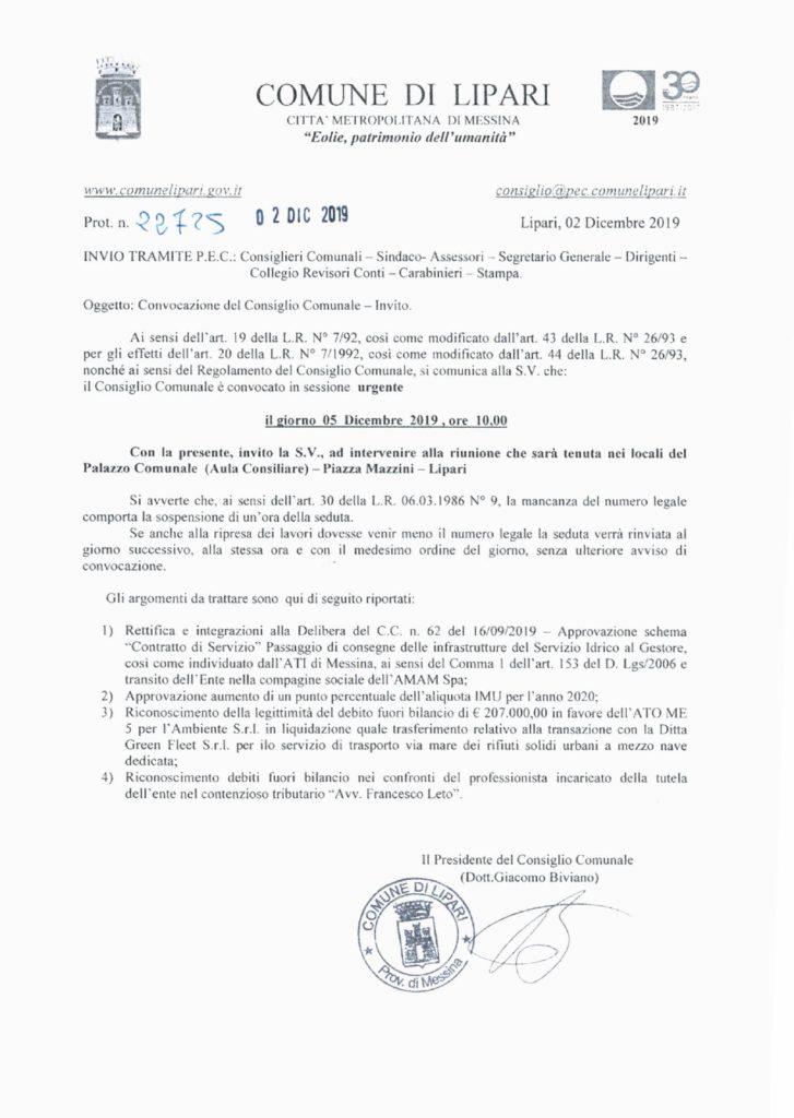Prot. n. 22725-19 - Convocazione Consiglio Comunale 05-12-19_page-0001