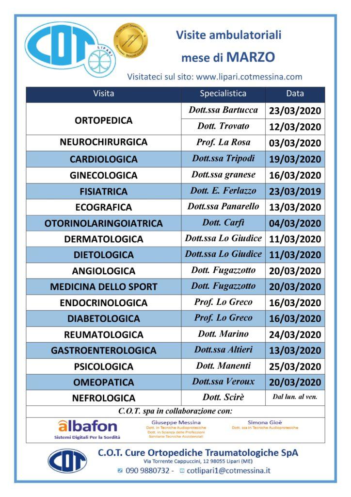 COT Lipari : visite ambulatoriali di marzo 1