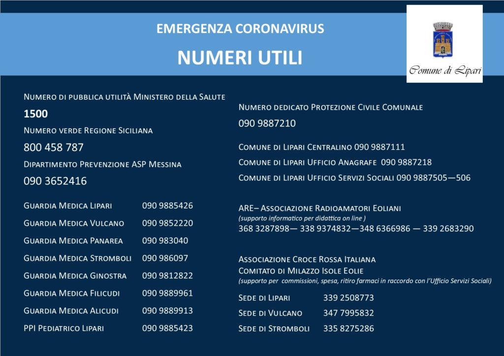 Emergenza Coronavirus, Lipari: i numeri utili