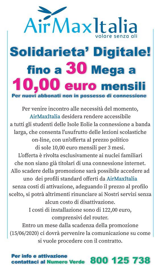 Airmax Italia : solidarietà digitale alle Eolie, 30 mega a 10 euro mensili 1