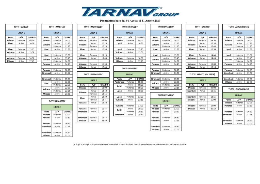 Alle Eolie con Tarnav : gli orari di agosto