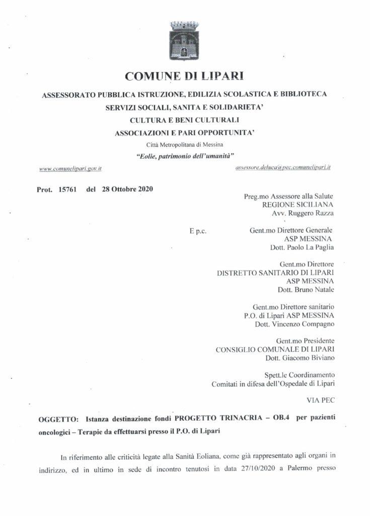 Terapie oncologiche a Lipari : richiesta ufficiale alla Regione