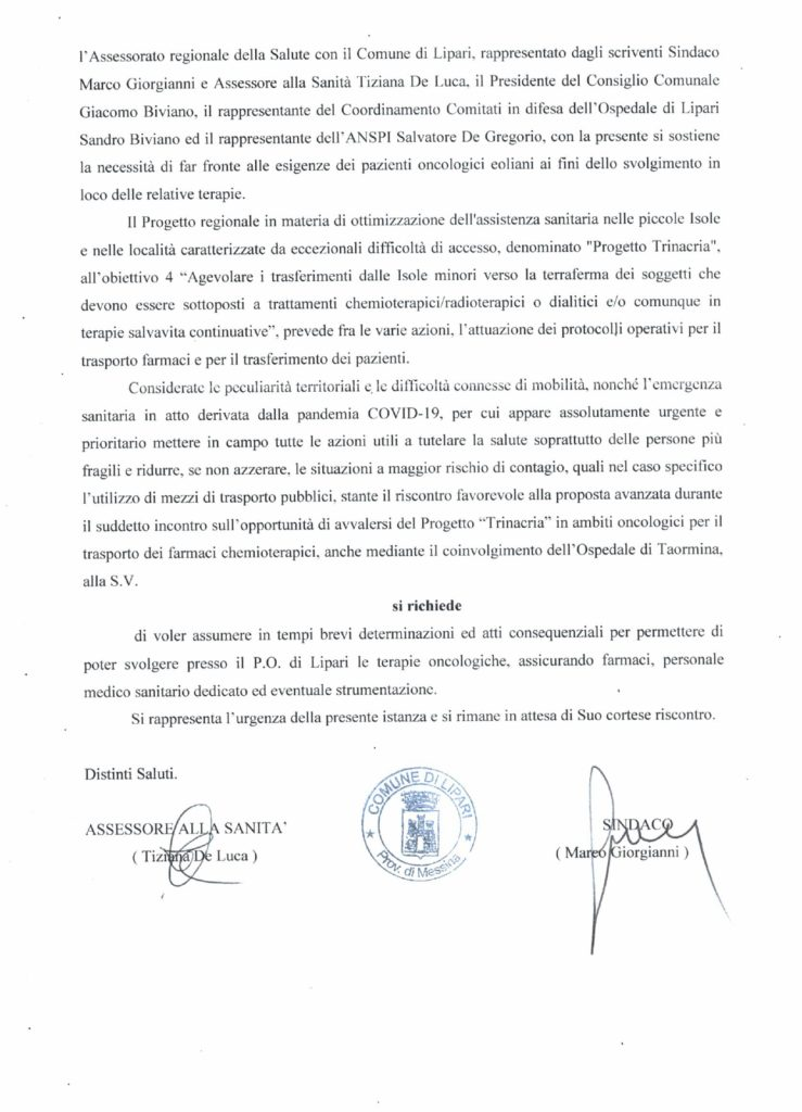 Terapie oncologiche a Lipari : richiesta ufficiale alla Regione 1