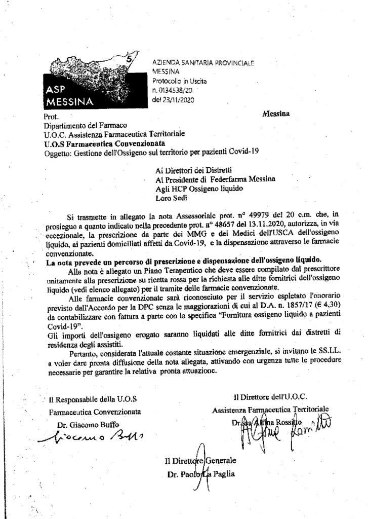 Ossigeno per i pazienti Covid : sarà prescritto da medici di medicina generale e delle Usca, richiesta attraverso le farmacie convenzionate 1
