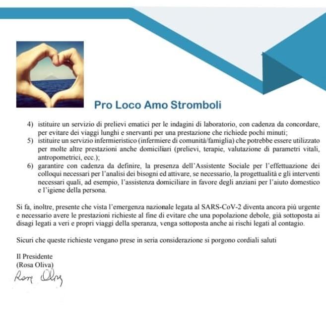 Sanità a Stromboli : le richieste della Pro Loco al presidente Musumeci