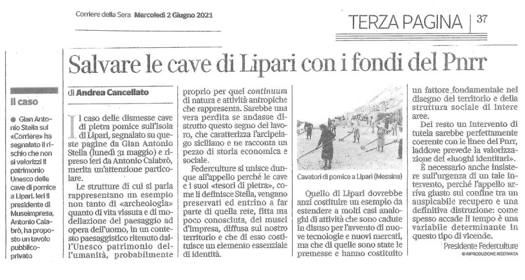 Cancellato ( Federculture) sul Corriere : salvare le cave di Lipari con i fondi del Pnrr