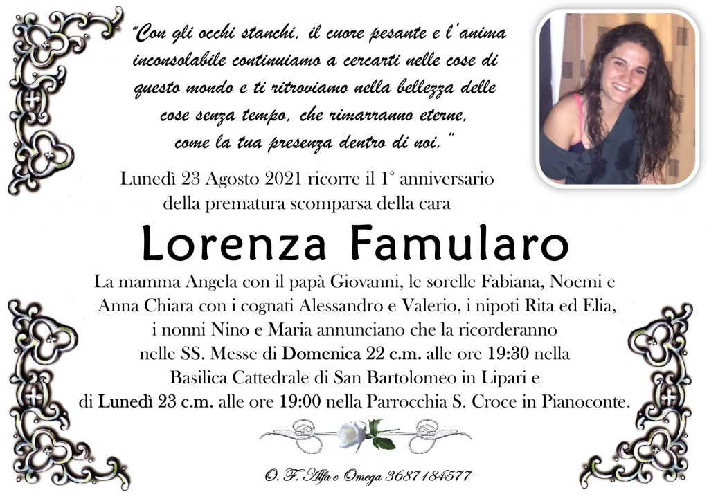 Lorenza Famularo, messe in suffragio