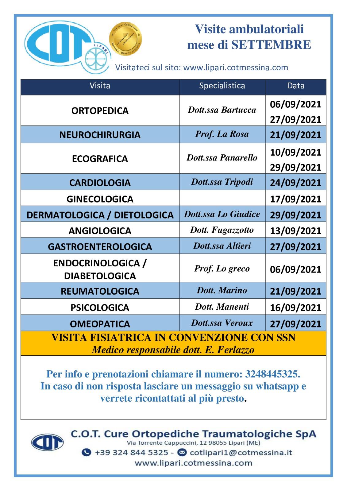 COT Lipari : Idrokinesiterapia, visite ambulatoriali di settembre
