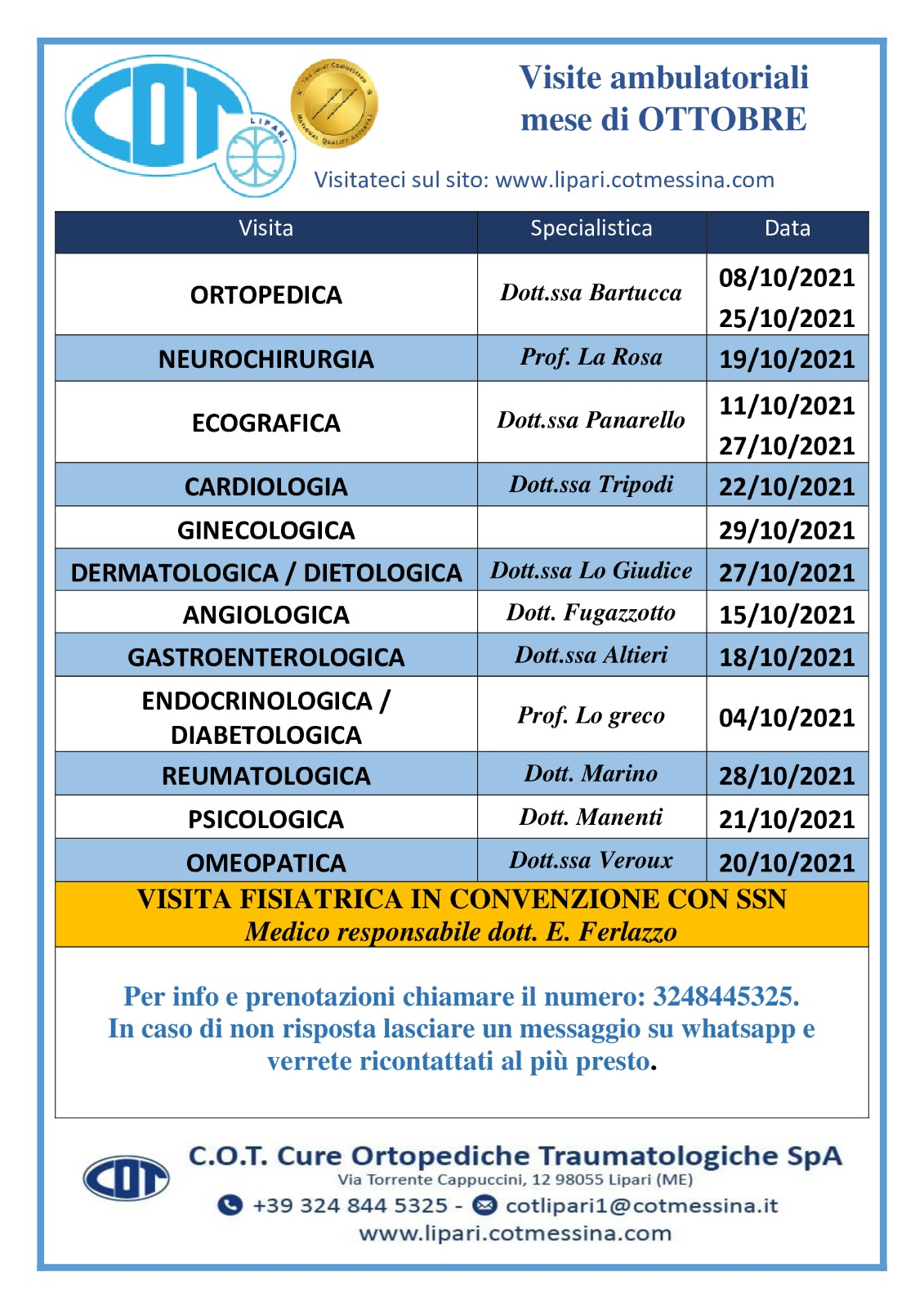 COT Lipari : Idrokinesiterapia, visite ambulatoriali di ottobre